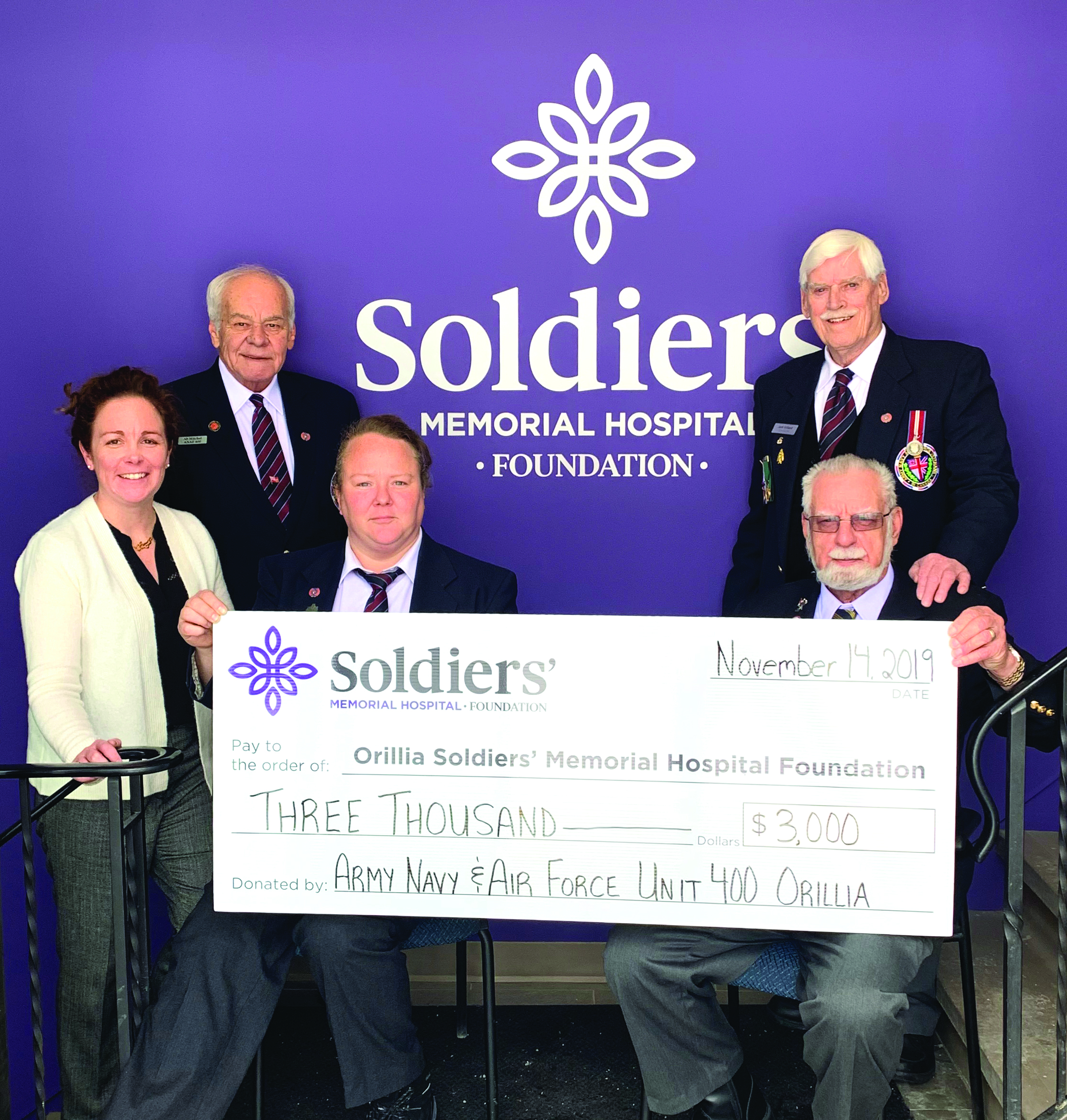 Representatives from the Army Navy & Air Force Veterans – Unit 400 deliver a donation of $3,000 to Orillia Soldiers' Memorial Hospital Foundation. From left to right: Kristen Dawson, Soldiers' Manager of Patient Experience, Ab Mitchell, Veterans Visiting Member, Colleen Payie, Army Navy & Air Force Veterans – Unit 400 Vice President, Jack Gillard, Army Navy & Air Force Veterans – Unit 400 President (back), Bob Dimalane, Legion Visiting Member.