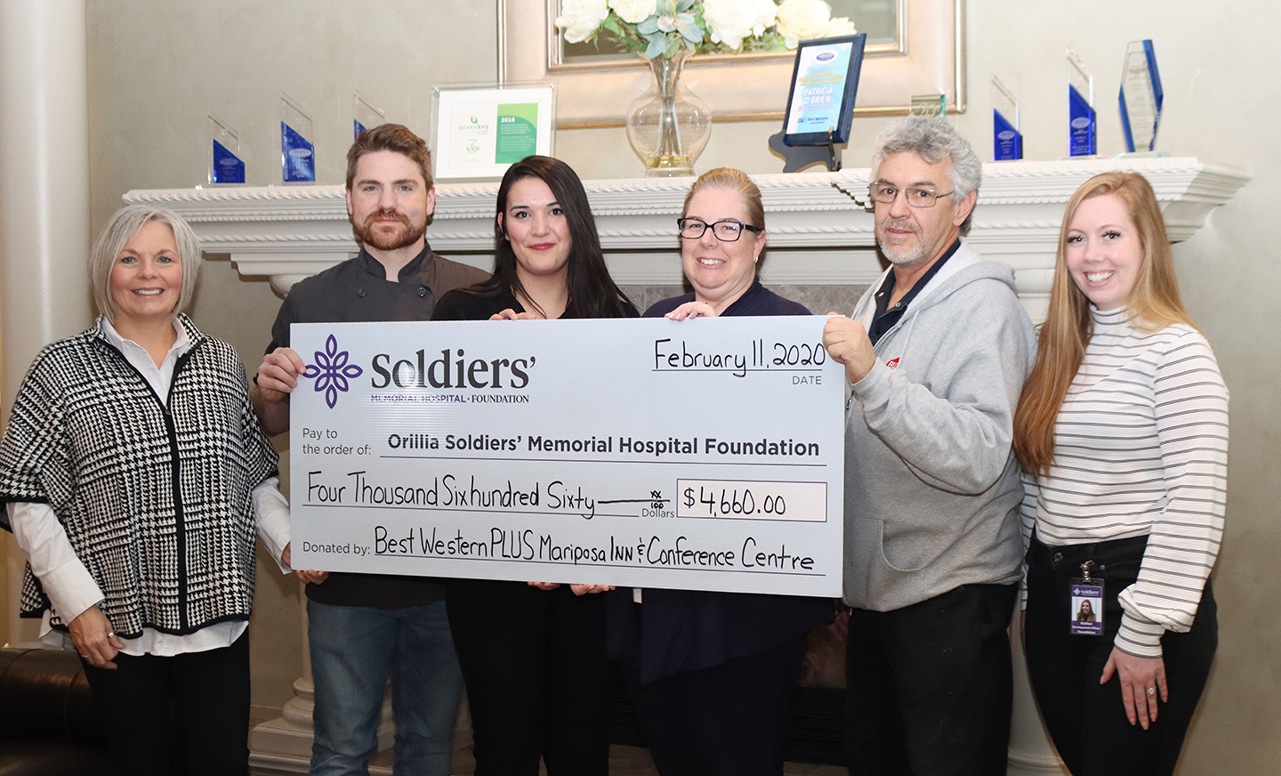 Organizers of Best Western PLUS Mariposa Inn & Conference Centre's Margaritaville New Year's Eve Party present a cheque for $4,660 to the Orillia Soldiers' Memorial Hospital Foundation. (L-R) Lisa Wanamaker, OSMH Foundation, Paul Laforet, Executive Chef, The Grape and Olive Wine & Martini Bistro, Danielle Foster, Housekeeping Manager, Andrea Sullivan, Assistant General Manager, Don Bassie, Maintenance Manager and Kaitlyn St. Pierre, OSMH Foundation.